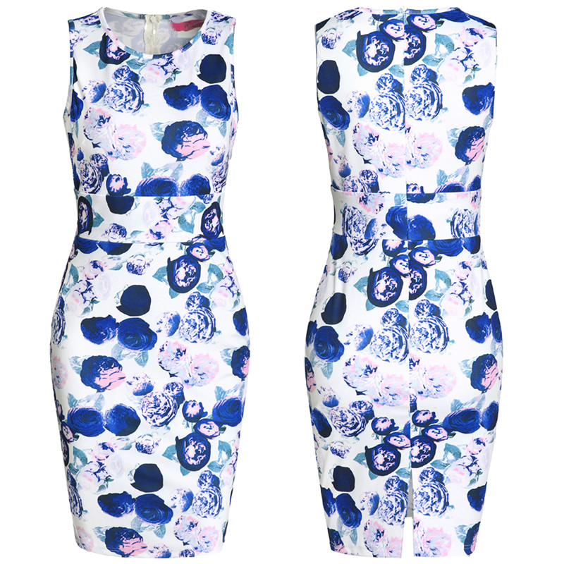 bcdb1ccc702e1a Ethnic Women Pencil Dress Sexy Bodycon Sleeveless Dresses Plus Size Female  Watercolor Vintage Chinese Floral Print Mini Dress-in Dresses from Women s  ...