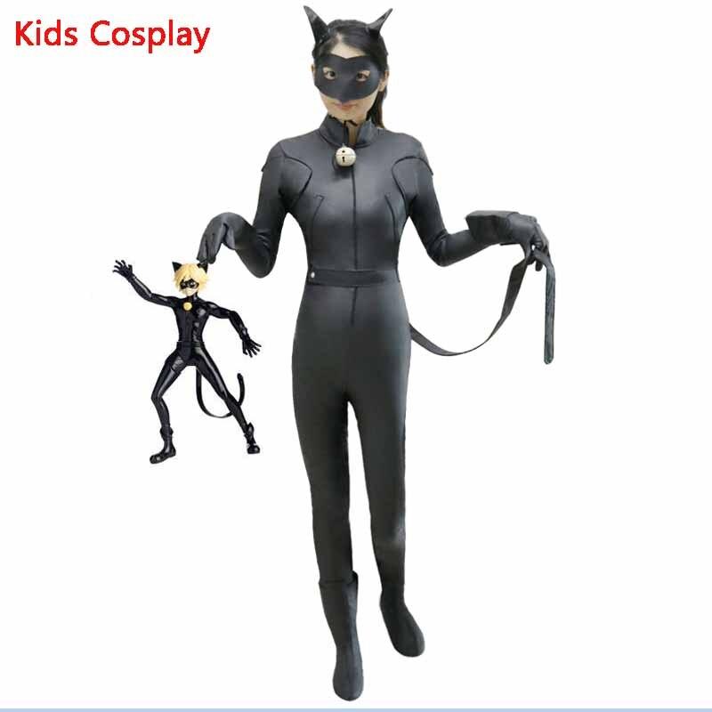 где купить Full set Of Miraculous Ladybug Jumpsuite Adrien Agreste Black Cat Noir Cat suit Cosplay Lady bug Costume Halloween Fancy Clothes по лучшей цене