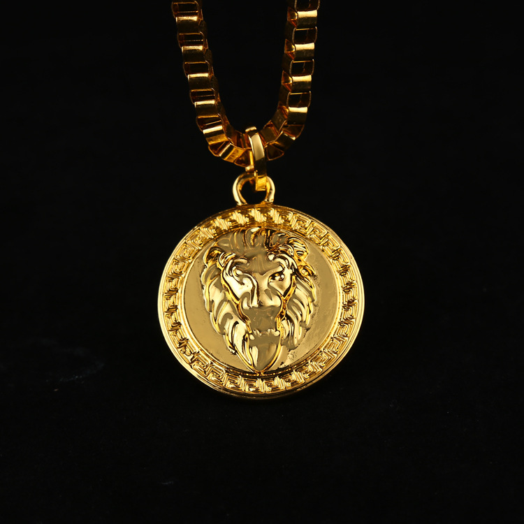 Iftec hiphop golden lion pendant necklace pure gold color lion product photos aloadofball Choice Image