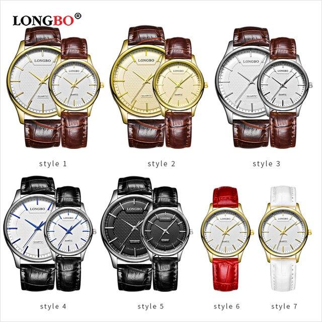 LONGBO Reloj Mujer Fashion Couple Watch Luxury Leather Men Women Watches Casual Waterproof Lovers Quartz Wristwatch Women's Gift