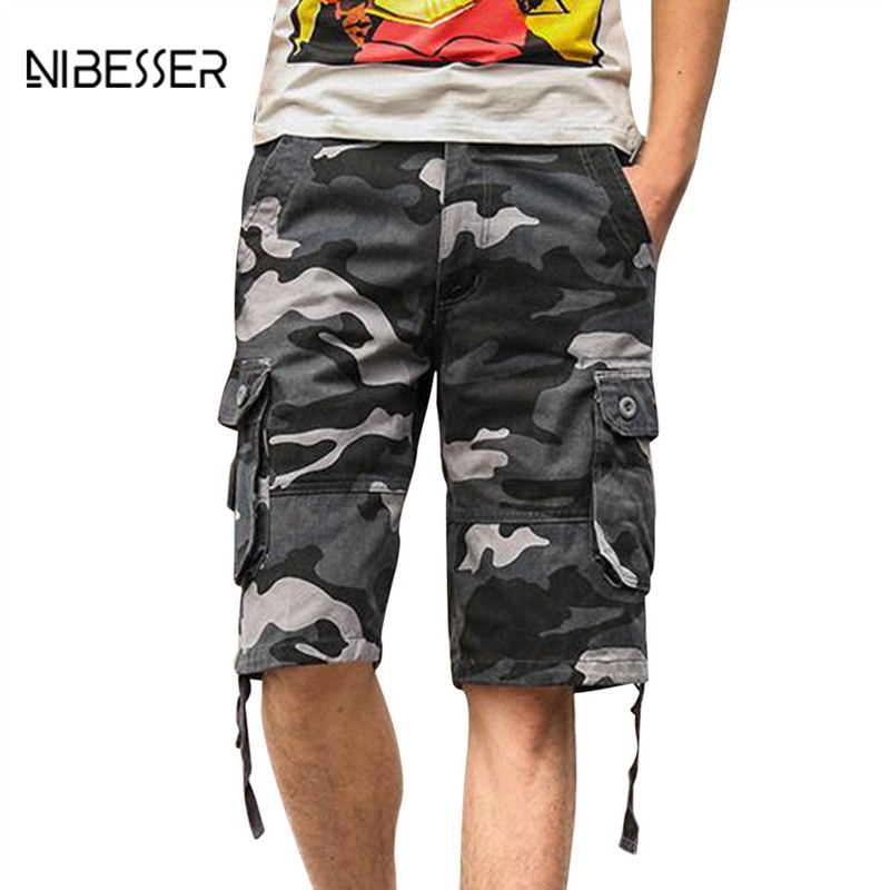 NIBESSER Multi Pocket Military Shorts Summer Mens Baggy Shorts Zipper Cargo Shorts Male Camouflage Mens Tactical Short