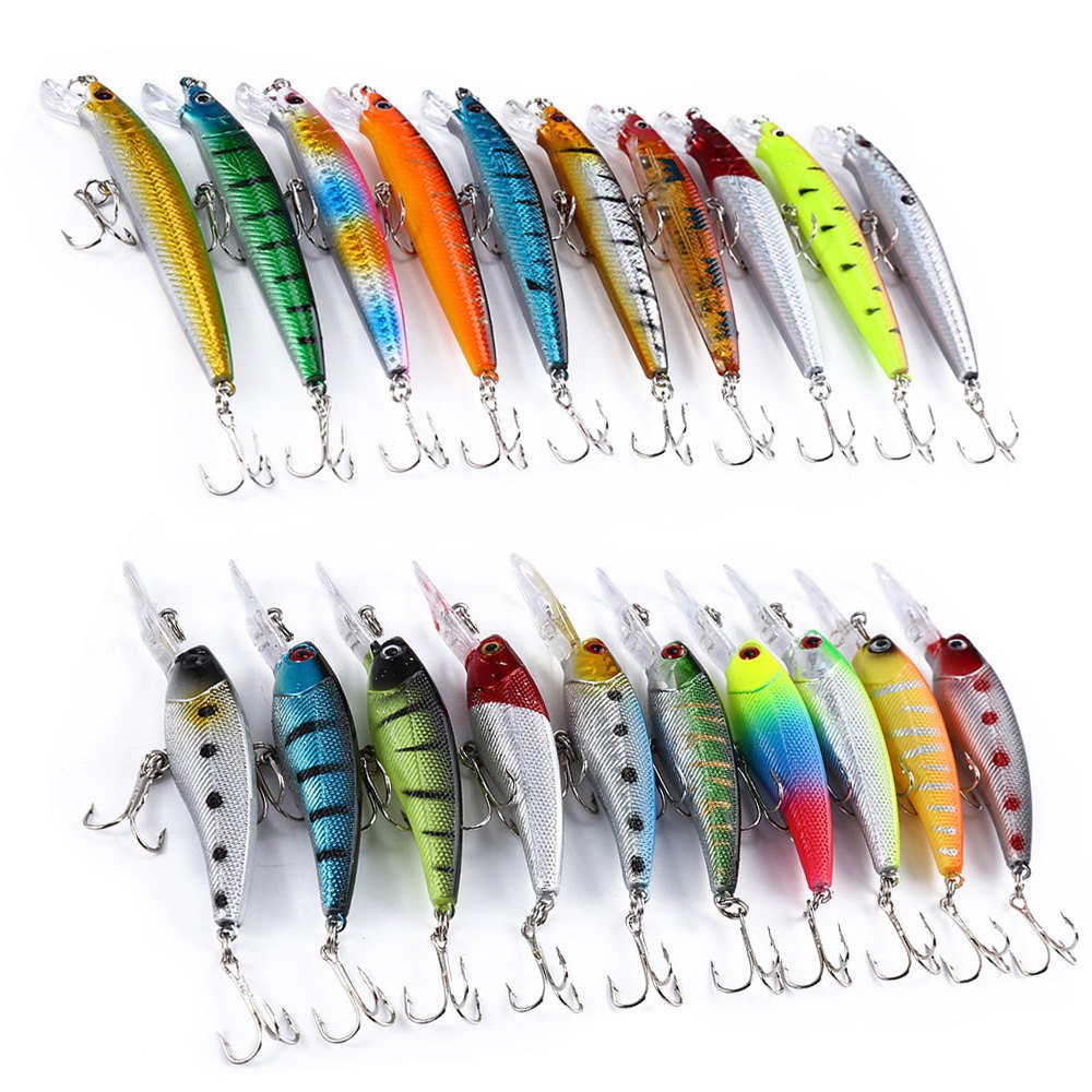 20 PCS Minnow Fishing Lures Crankbait Hard Bait Fishing Wobblers Lure Artificial Pencil Fishing Tackle With 2 Hooks Swimbait wldslure 1pc 54g minnow sea fishing crankbait bass hard bait tuna lures wobbler trolling lure treble hook