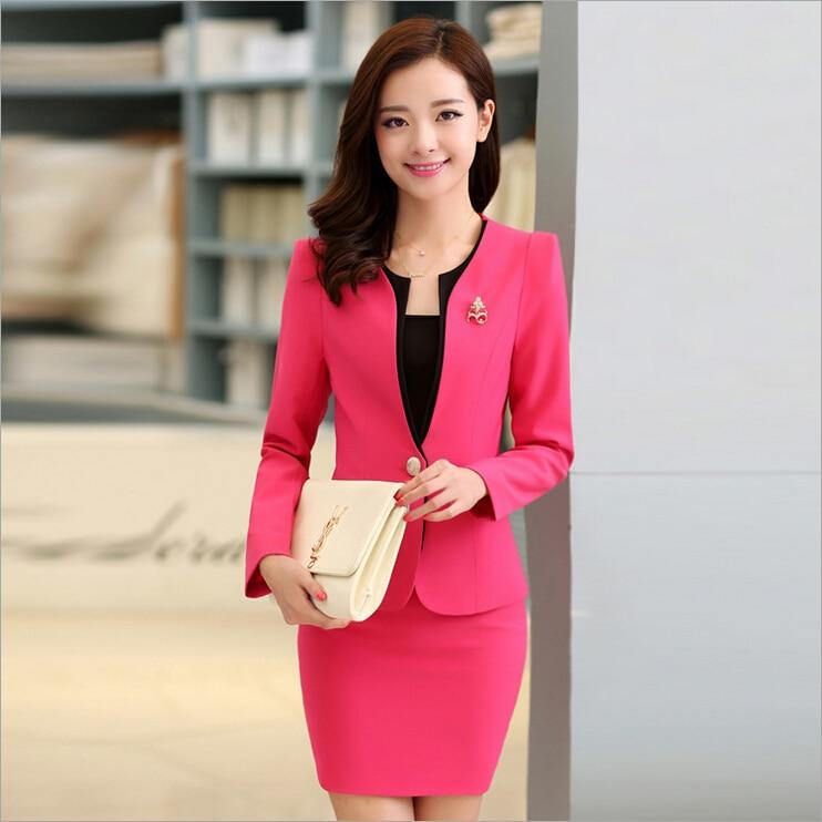 93941818bb2 Nouveau 2016 automne formelle rouge Blazer femmes costumes avec jupe et veste  définit costumes bureau mesdames travail uniforme pour Salon de beauté dans  ...