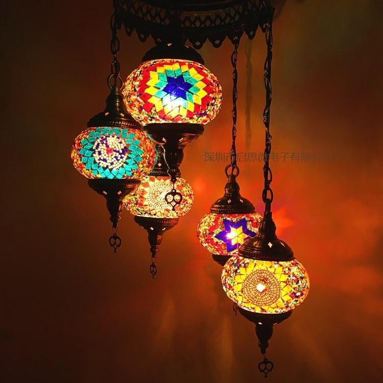 5 Heads Turkey ethnic customs handmade Mosaic lamp romantic Hotel cafe restaurant bar Pendant light living