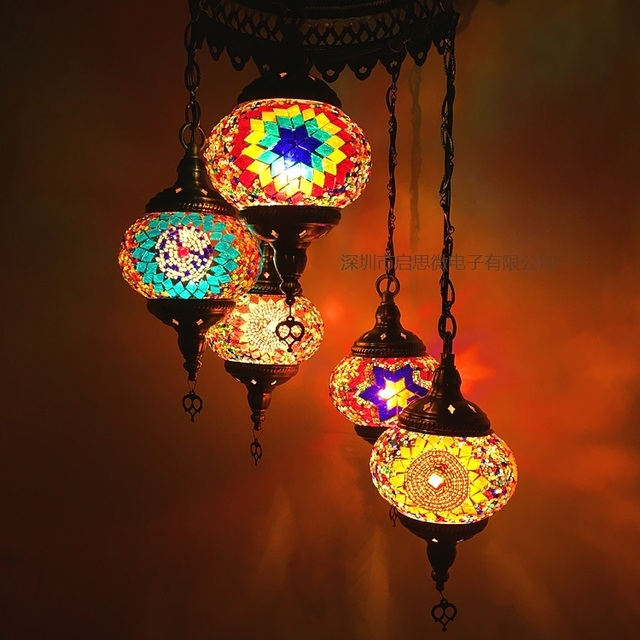 Perfect 5 Heads Turkey Ethnic Customs Handmade Mosaic Lamp Romantic Hotel Cafe  Restaurant Bar Pendant Light Living