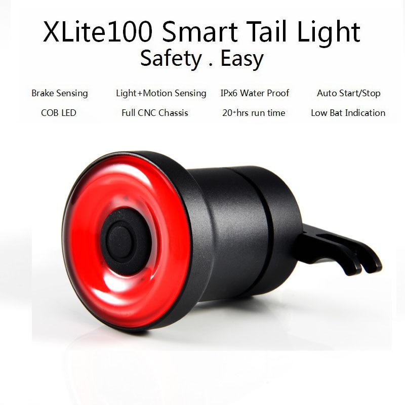 XLITE100 LED linterna de bicicleta para bicicleta de arranque automático/freno parada de IPx6 impermeable USB Smart cola luz para bicicleta silla de montar