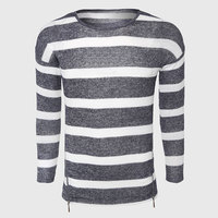 Grey White Striped Sweaters Men Cotton Cable Knit Sweater Classic O Neck Casual Sweater Zipper Sailor
