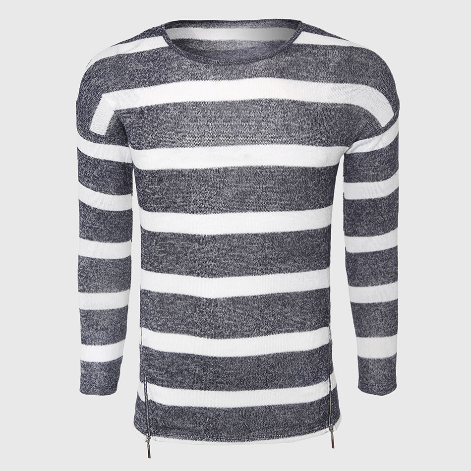 Grey White Striped Sweaters Men Cotton Cable Knit Sweater Classic ...