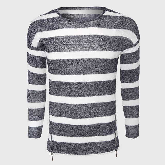Grey White Striped Sweaters Men Cotton Cable Knit Sweater Classic O