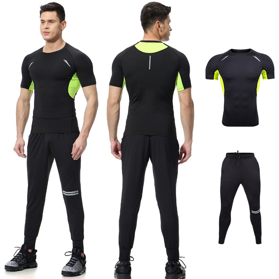 Mens Running Jogger Two-Piece Sets Workout T-Shirt Shorts Tracksuits