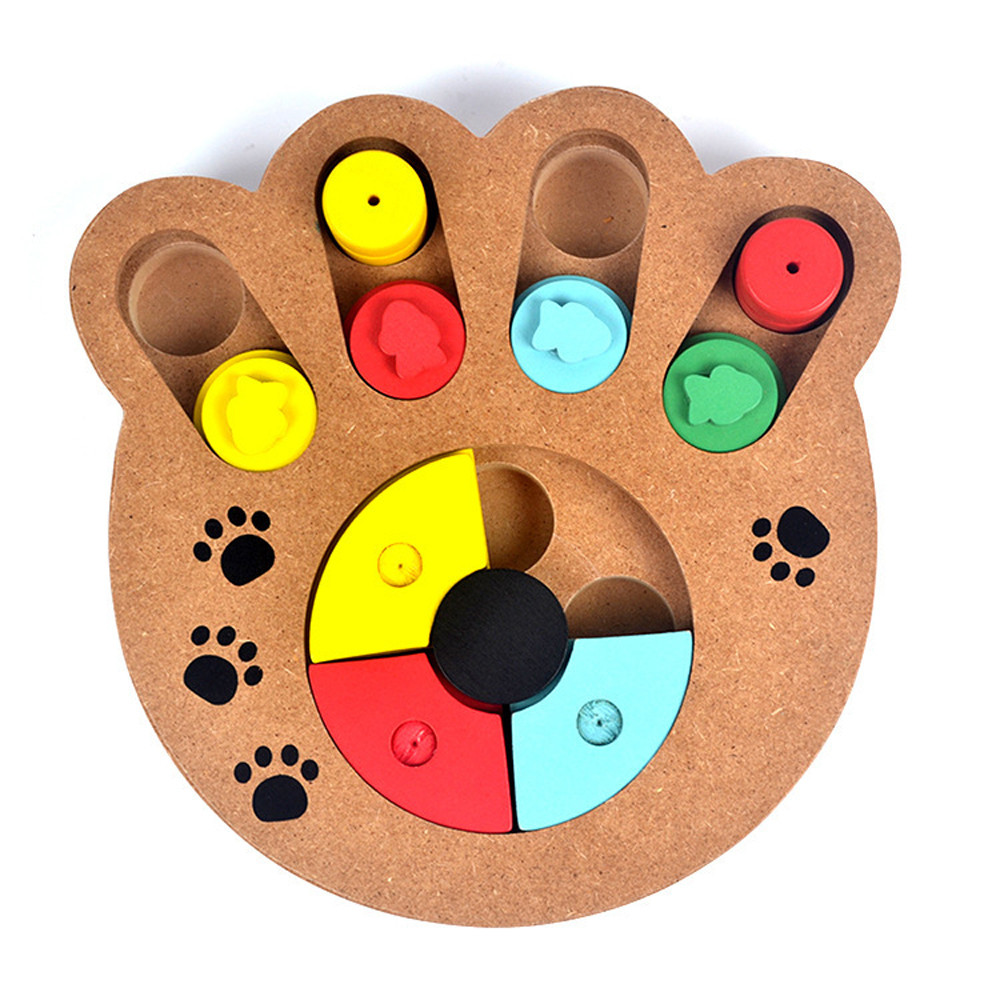 Pet Dog Game Training Wooden IQ Interactive Toy Food Dispensing Puzzle Hide&Seek Colorful Ball With Bell Pet Dog Products Toy