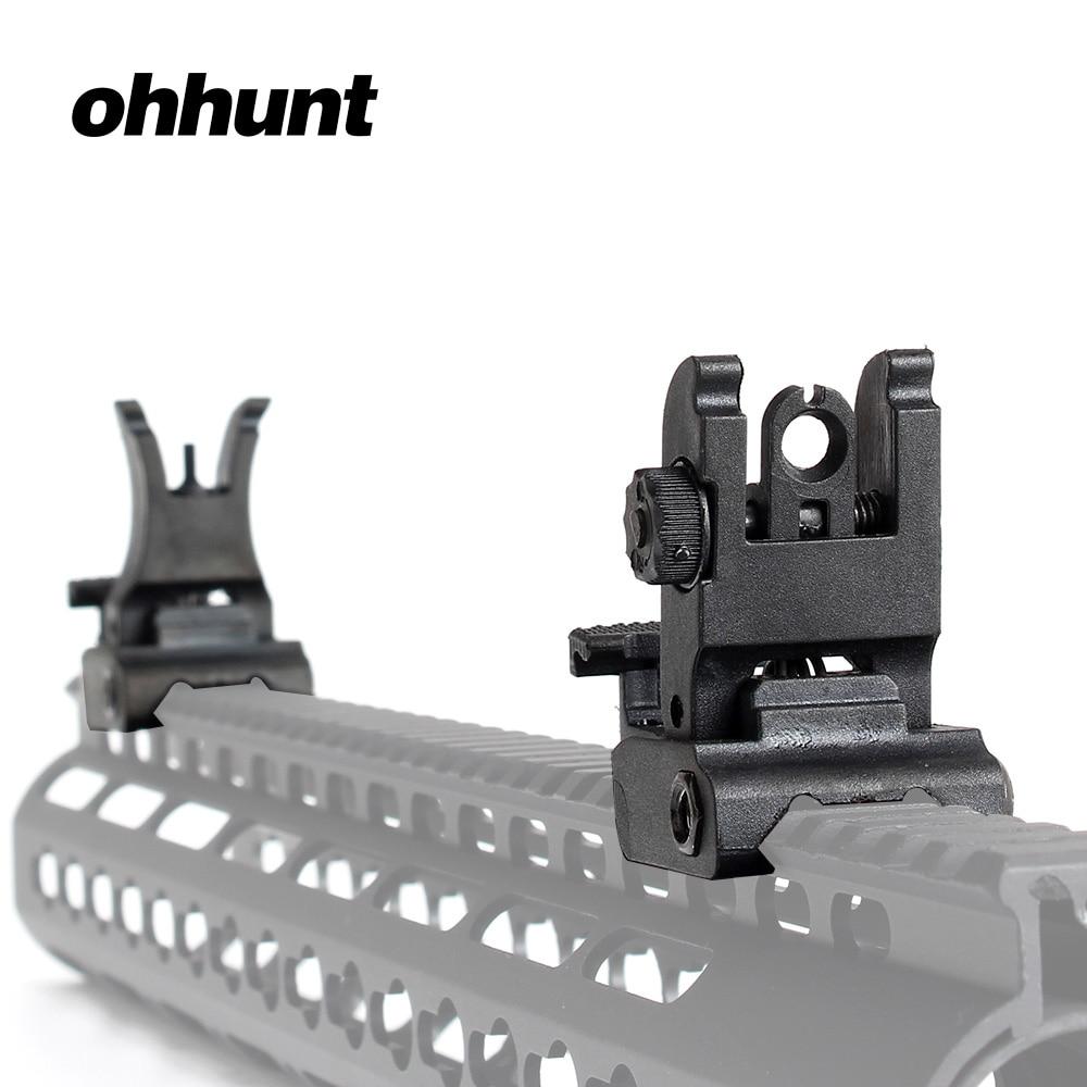 Ohhunt Tattico Ai Polimeri di Design Dual Aperture Sight Set Pieghevole Anteriore Posteriore Attrazioni Fit Picatinny Rails per M4 M16 AR15 Rifle