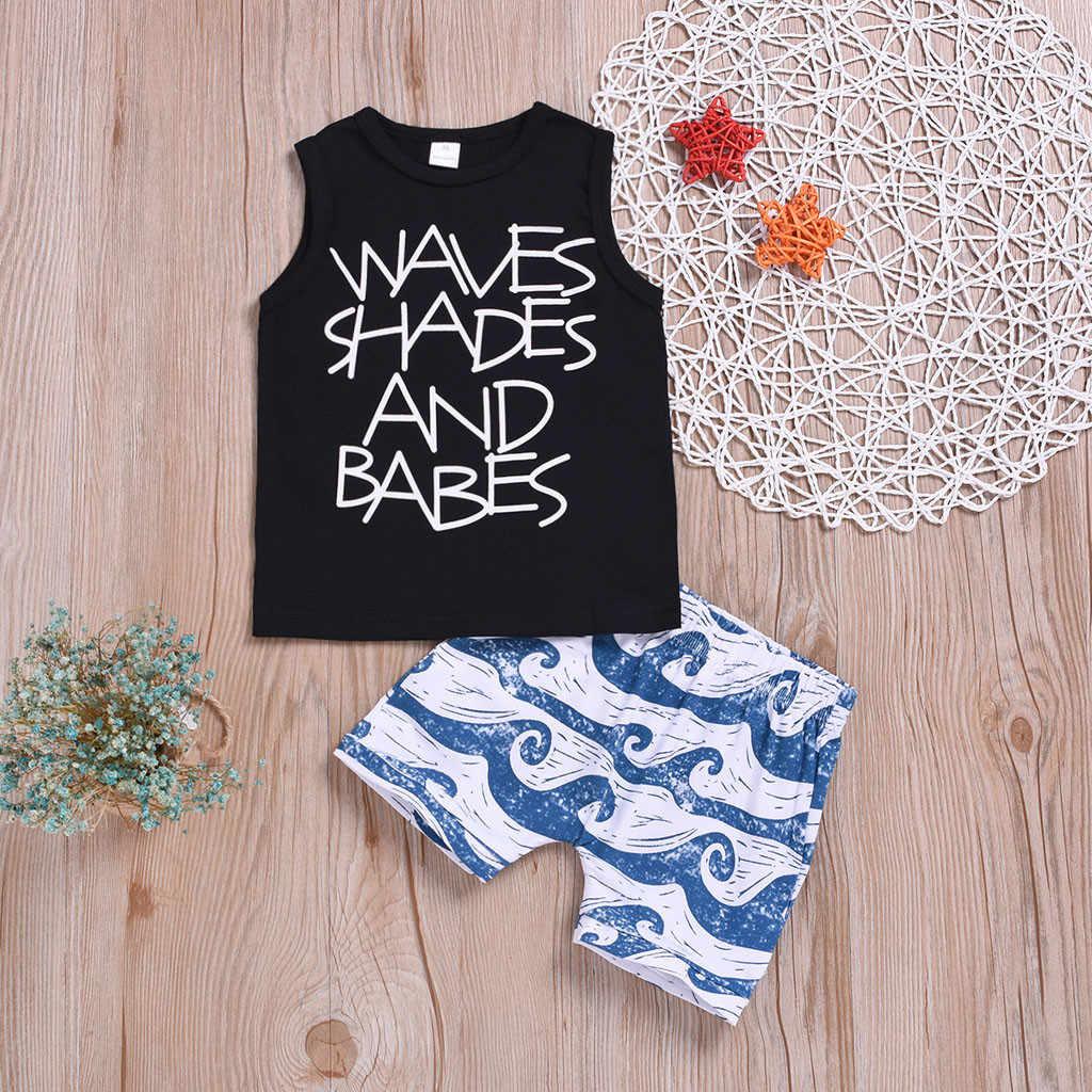 2 sztuk noworodka lato 2019 dziecko dziewczynka chłopiec ubrania bawełniane moda list drukuj kamizelka + spodenki druku dla dzieci dziewczyna zestaw odzież dla niemowląt
