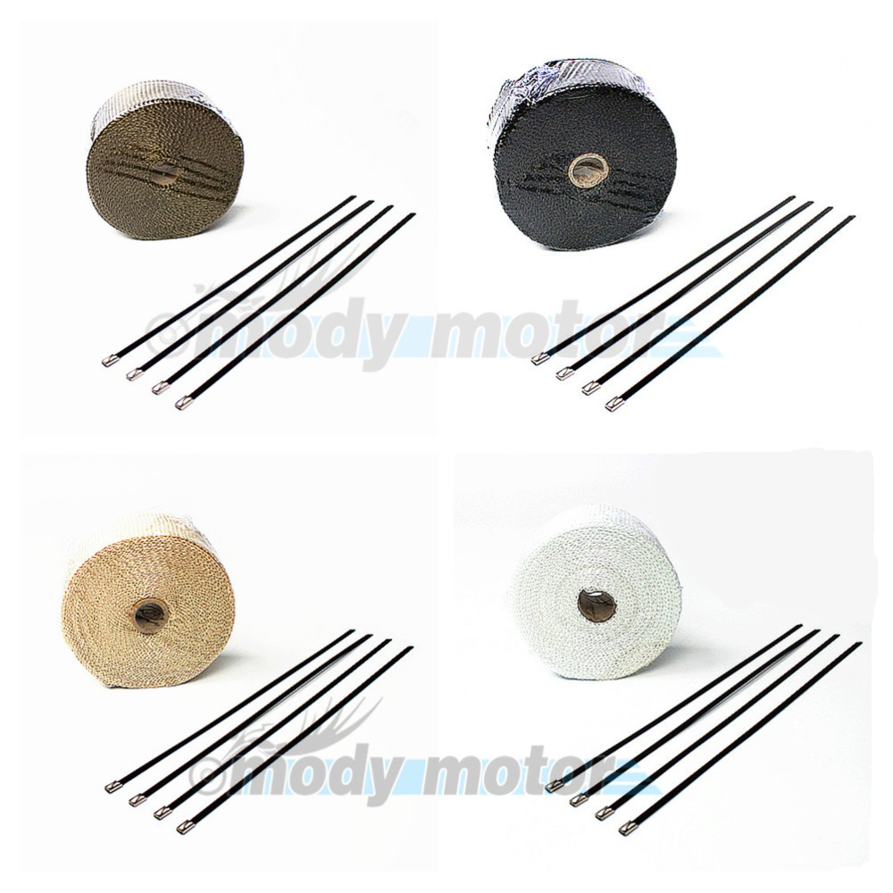 Motor four colors 2mm*50mm*10m Exhaust Pipe Header Heat Wrap Resistant Downpipe Manifold Wrap with 4 Stainless Steel Ties