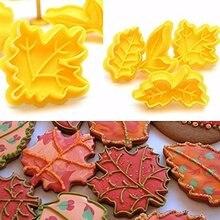 4 pçs/set Kit DIY Queda Maple Leaf Êmbolo Cortador de Biscoitos Molde Do Bolo Flor Fondant Êmbolos Pastelaria Artesanato Decoração De Alimentos