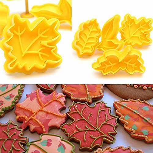 4Pcs / set Kit Cookie Cutter Plunger DIY Fall Maple Leje Cake Mould Plungers Lule Fondant Pasta Artizanale Artizanale Ushqim Dekor