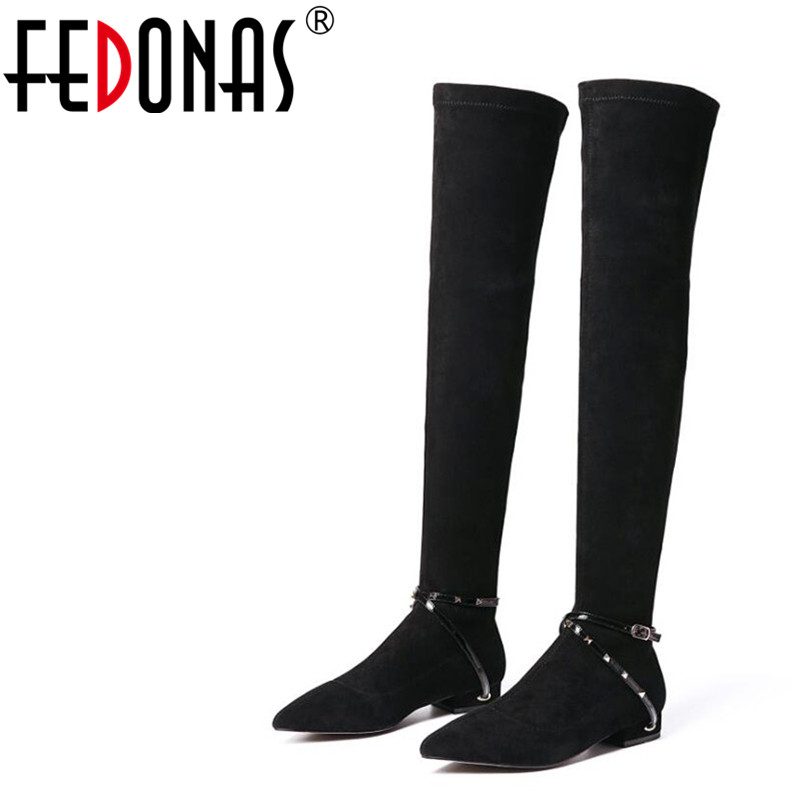 FEDONAS 1Fashion Women Over The Knee Boots Autumn Winter Warm Square Heels Shoes Woman Punk Rivet