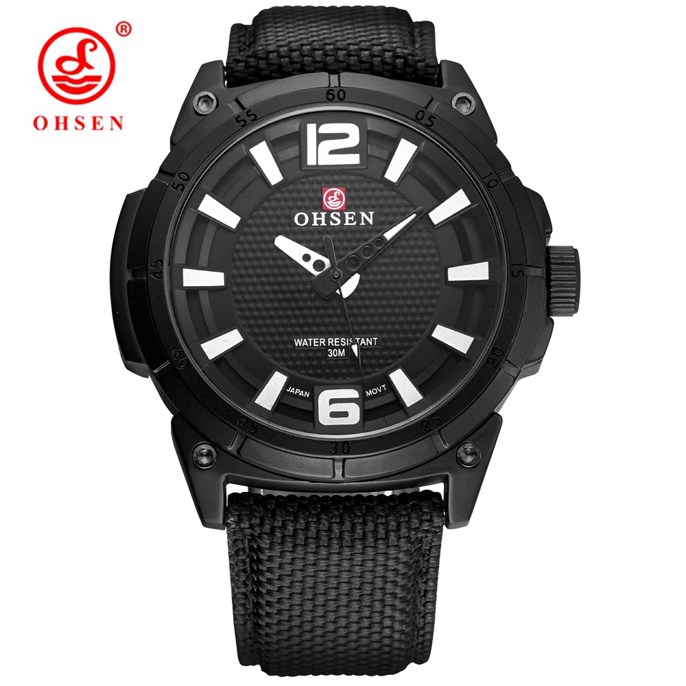 NEW Saat OHSEN Fashion Casual Brand Male Black Quartz Watch Men Man Wristwatch 30m Swim Sports Watch Canvas Leather Band Relogio new listing men watch luxury brand watches quartz clock fashion leather belts watch cheap sports wristwatch relogio male gift