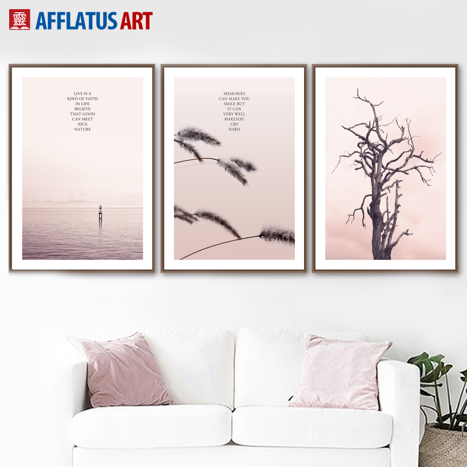 Pink Tree Sea Landscape Wall Art Canvas Painting Nordic Posters And Prints Wall Pictures For Living Room Kids Room Home Decor in Painting Calligraphy from Home Garden