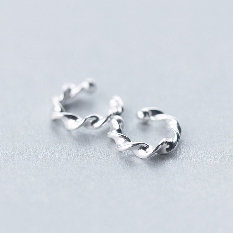 (11mm * 10mm) Authentische 100% Real. 925 Sterling Silber Schmuck Verdreht Clip Ohrringe (keine Durchbohrten) Dame Gtle1544 SchüTtelfrost Und Schmerzen
