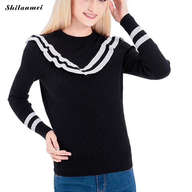 6e92ed9df4 2017 Japanese korean lolita cute kawaii sweet harajuku vintage striped lace  cross black sweater women knitted