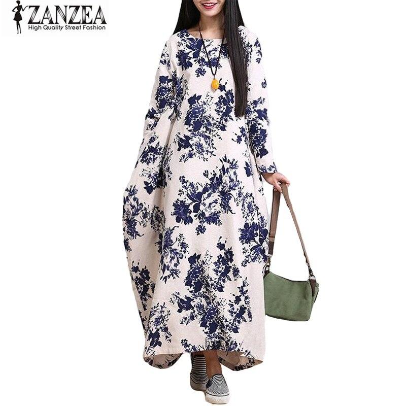 ZANZEA Oversized Womens Cotton Linen Floral Long sleeves Casual Long Maxi Dress Kaftan