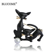 Blucome Black Mother Son Cats Brooches Gold-color Pins Simulated Pearl Brooch Suit Scarf Collar Clips Women Men Kids Best Gifts