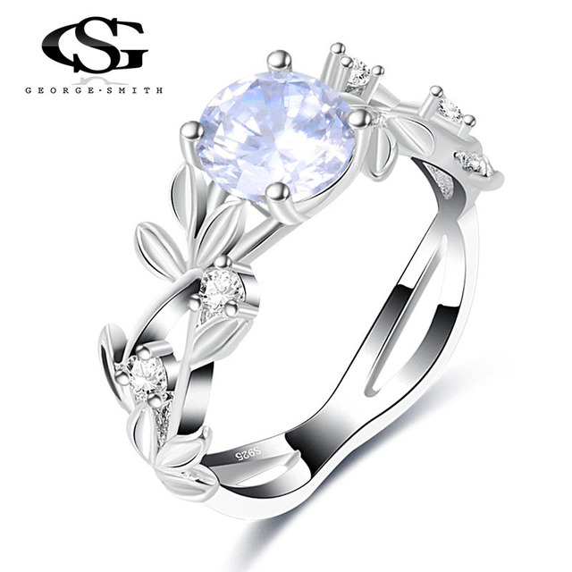 GS Silver Color Crystal Flower Wedding Rings For Women Girls Jewelry