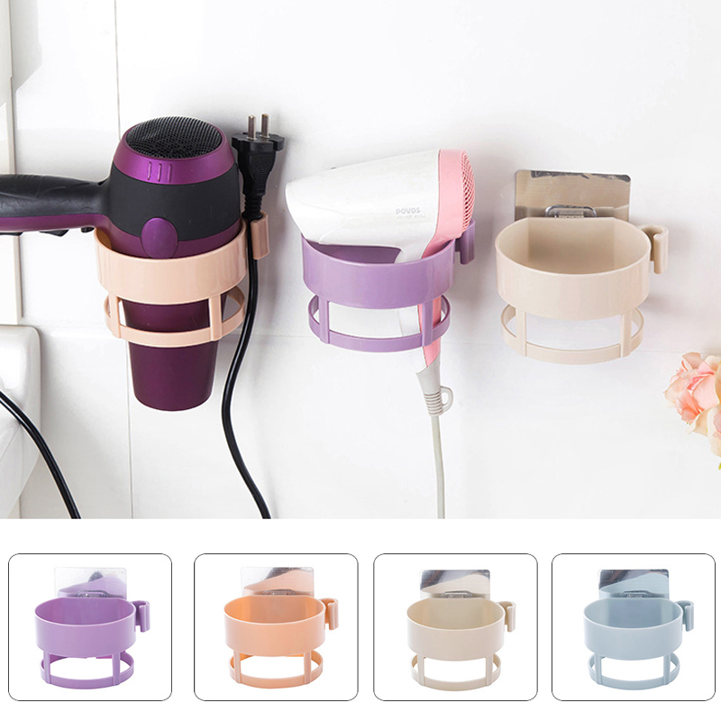 Hair Dryer Storage 4 Colors Holder Stand  Wall Mounted Plastic Space Save Shelf Hairdrye Rack Bathroom Organizer Pratelei Hook
