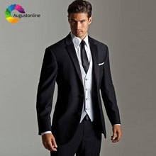 Italy Style Custom Made Black Men Suits for Wedding White Vest Best Man Blazers Jacket Slim Fit Groom Tuxedos 3 Pieces Pants