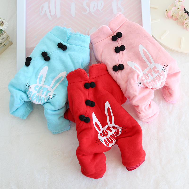 Rabbit Pet Dog Clothes Winter Warm Dog Rompers Jumpsuits Dog Pajamas Thick Coats Jacket Clothing For Dogs Cat Teddy