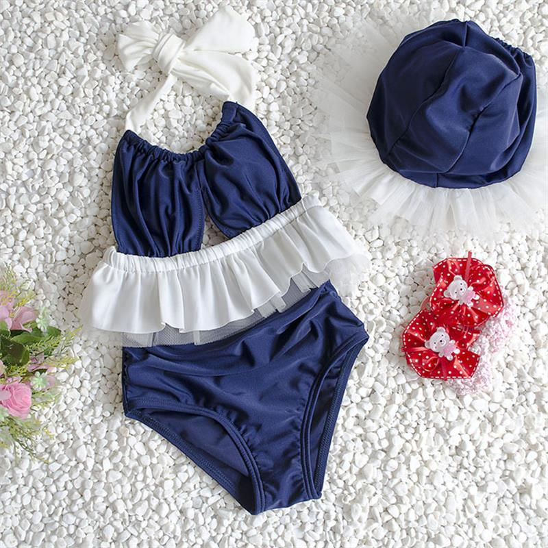 New Popular Kids Swimsuit Quality Girls Swimwear Teenagers One-pieces Sweet Lovely Bath Suit Infant Children Beachwear  2-8years