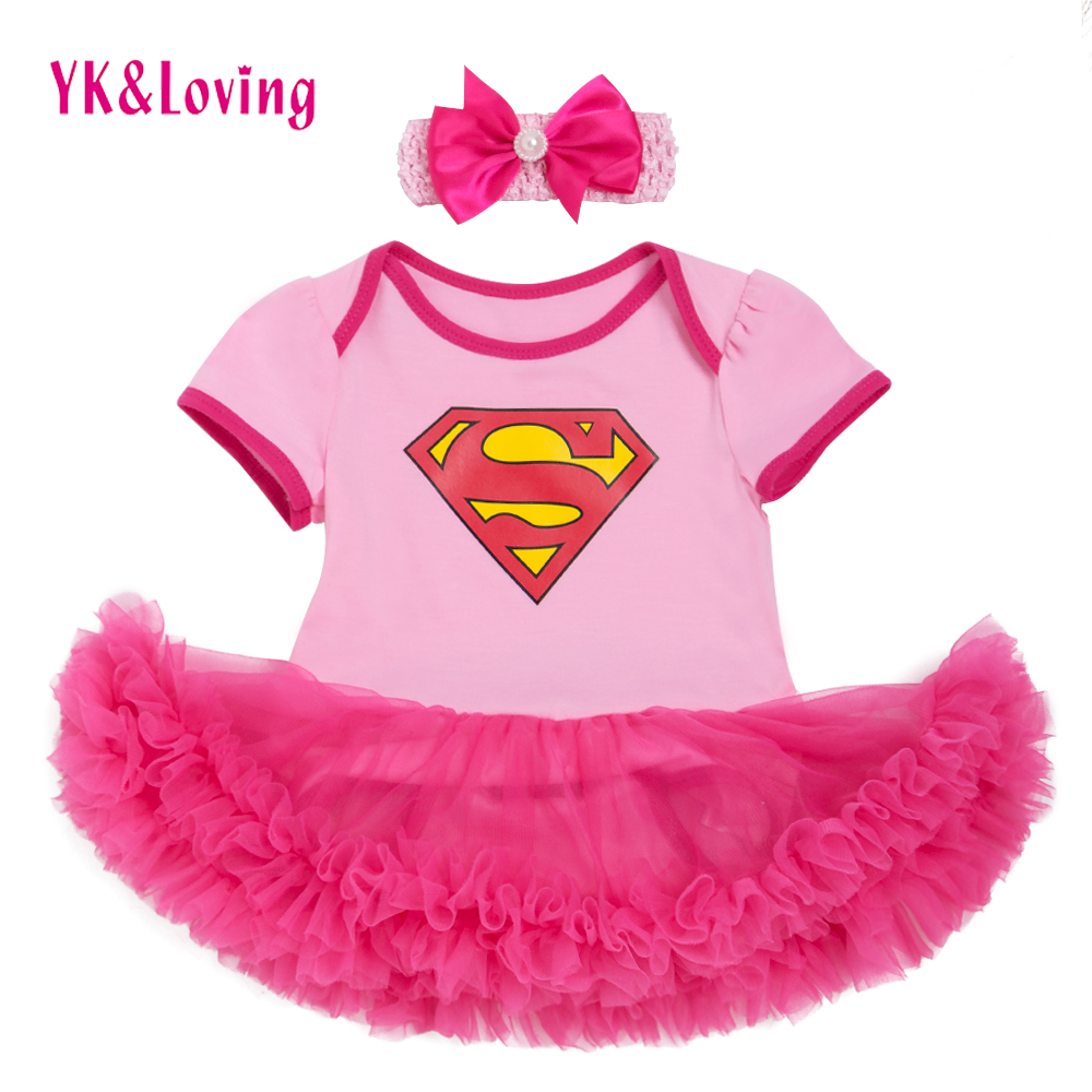 Superman Baby Girl Romper Tutu Romper Dress Jumpersuit+headband 2pcs Sets Halloween Party Birthday cosplay 0-2Y 2017 New Style 1set baby girl polka dot headband romper tutu outfit party birthday costume 6 colors
