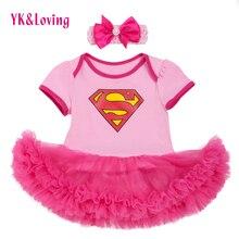 Superman Baby Girl Romper Tutu Romper Dress Jumpersuit+headband 2pcs Sets Halloween Party Birthday cosplay 0-2Y 2017 New Style