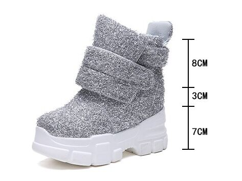 Image 5 - 2019 Women Winter Ankle Boots Wedge Platform Sneakers Woman Boots 10CM Height Increaseing High Top Shoes Autumn Botas Feminina-in Ankle Boots from Shoes