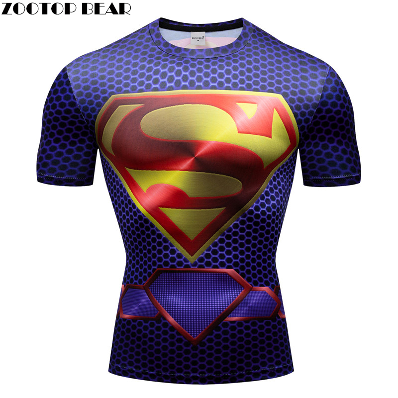 Super Hero Men T-shirts Slimming Fitness Compression Fitness Quick Dry Short 3D Print Shirts Sleeve Breathable Bodybuilding Male