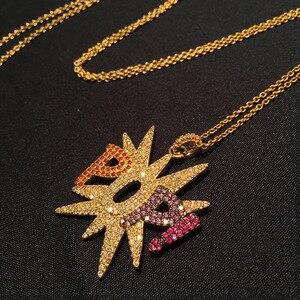 Image 2 - GODKI יוקרה מכתב פופי פאנק Stackable תליון שרשרת יפה מלא מעוקב זירקון אופנה קסם נשים תכשיטי מסיבת מתנה