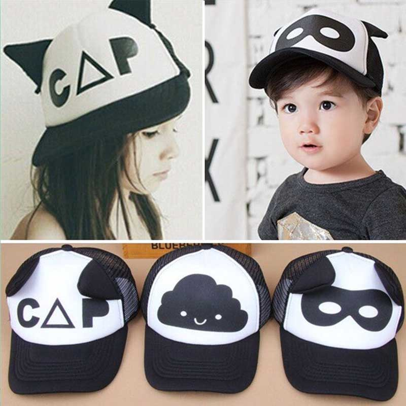 2017 summer Toddler Baby Black and White Baseball Cap Kids Cute Ear Summer Mesh Sun Hat