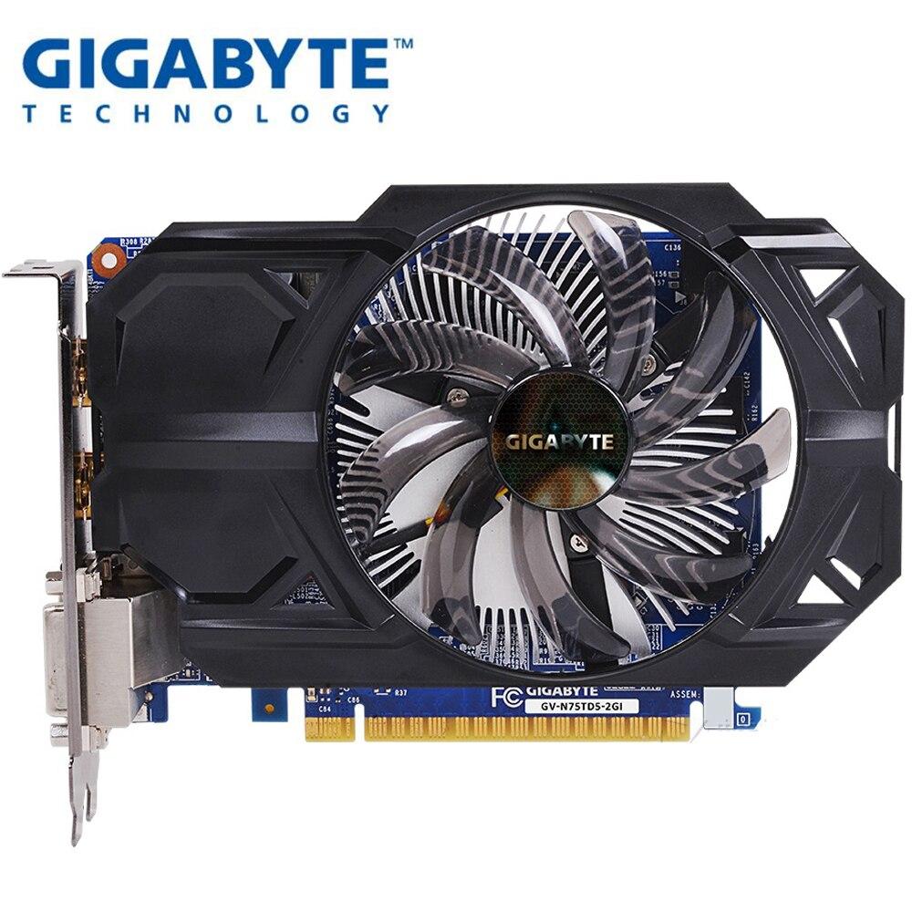 Carte graphique GIGABYTE GTX 750 TI 2G double HDMI double DVI taille courte pour coque d'ordinateur ITX Support LOL PUBG CSGO