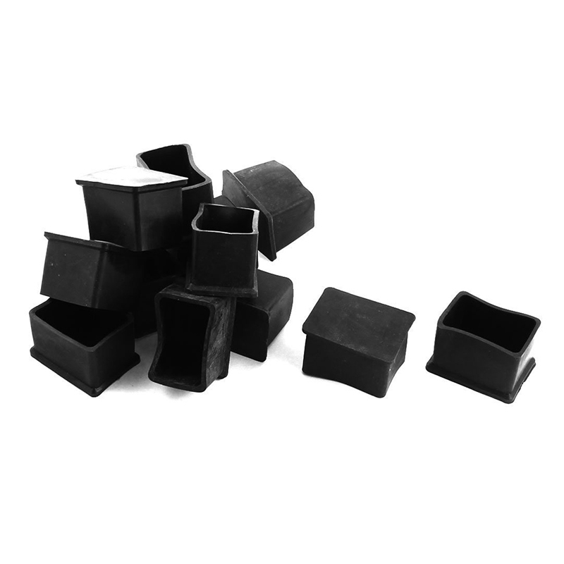12Pcs Furniture Rectangle Leg Protector PVC Soft Glue Foot 25mmx38mm Black