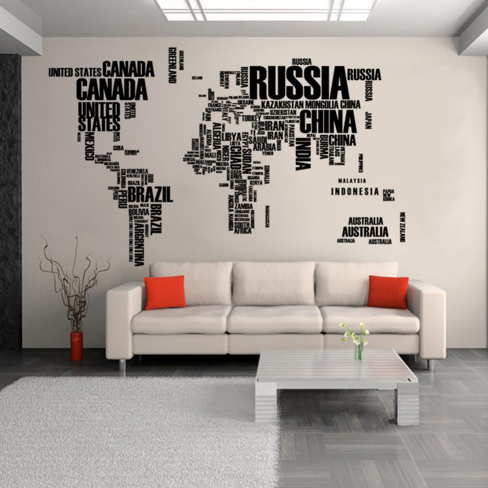 Black english words world map wall wall stickers - Removable wall stickers living room ...