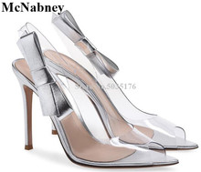 Transparent PVC Peep Toe Solid Pumps Stiletto Heel Knot Back Strap Fashion Sexy Formal Dress Spring/Autumn Women Shoes