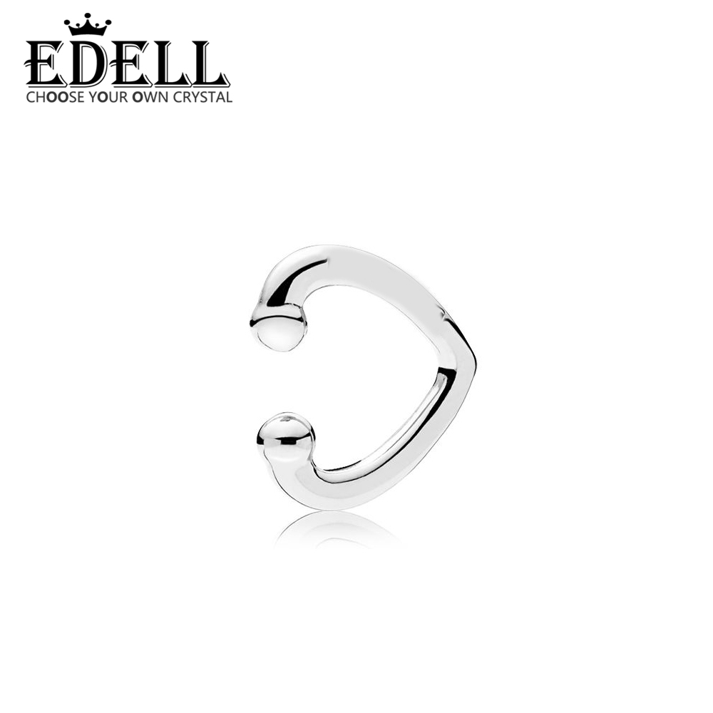 EDELL 100% 925 Sterling Silver 1:1 New 297214 OPEN HEART EAR CUFF Classic Signature Charm Original Jewelry Women Charming Gift