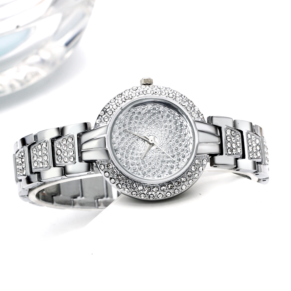 Full Crystals Luxury Ladies Watch for Women 3 Hands Stones Dial Alloy Round Case Bracelet Christmas Gift free drop shipping 4