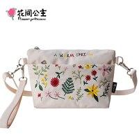 Flower Princess Summer Small Bag for Women Embroidery Nylon Crossbody Messenger Bags Ladies Light Floral Hand Bags sac femme