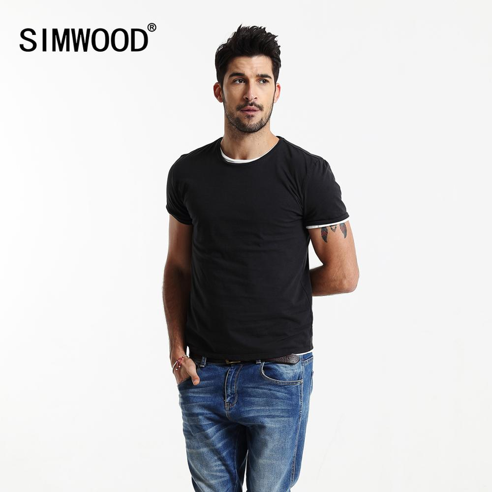 SIMWOOD 2020 Summer New Solid Color T Shirt Men Casual O-neck Classical Basic T-shirt Casual High Quality Top TD1073