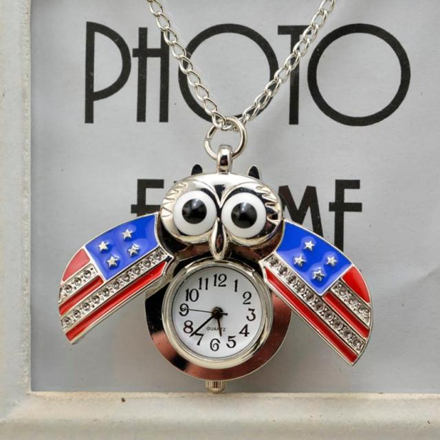 #5001 Leisure Fashion Owl Pocket Watch Vintage Style Retro Slide Owl Pendant Lon