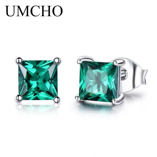 925 Sterling Silver Emerald Stud Earrings for Women 1