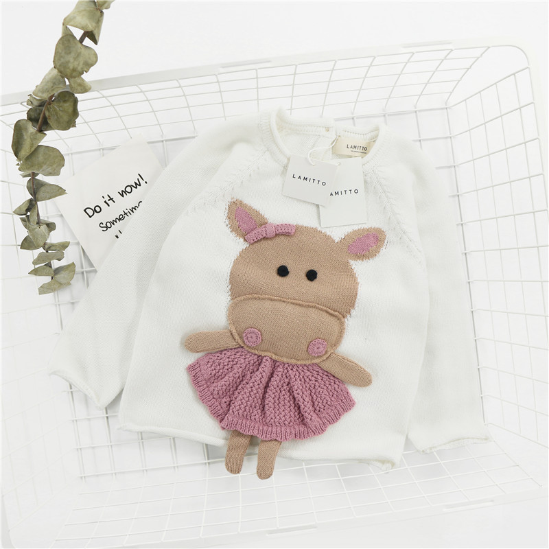 Kids sweater baby boy sweater Apron small hippo three-dimensional pattern girls pullover sweaters knit long sleeve tops crew neck long sleeve ombre knit blends sweater