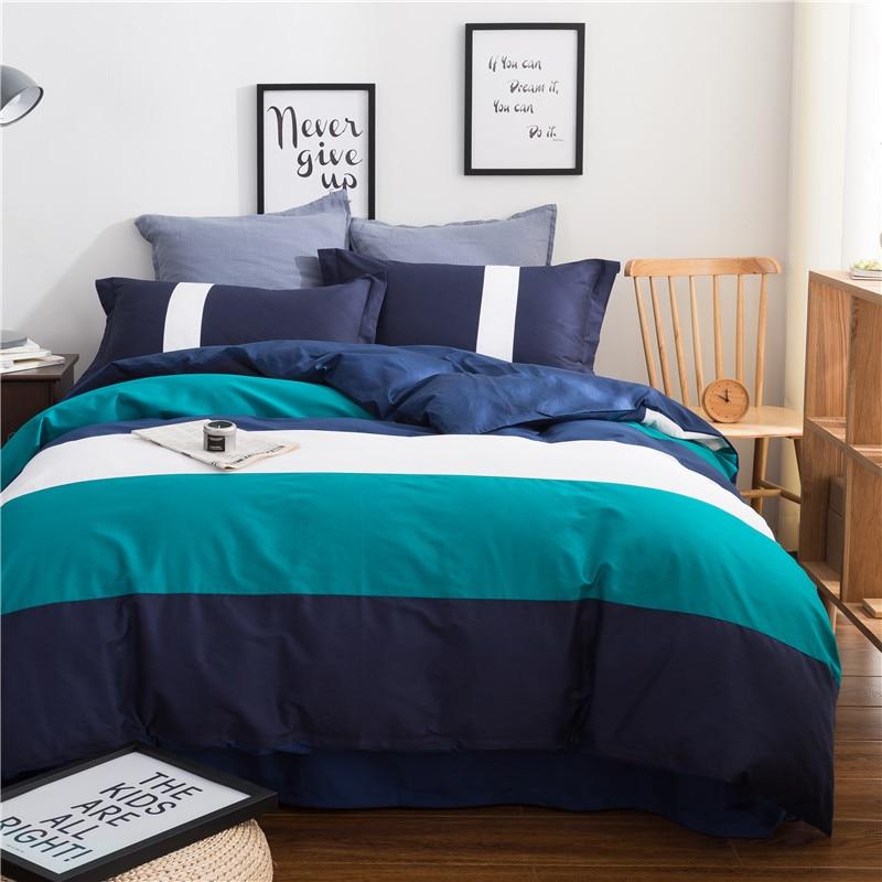 Foncé Bleu Vert Blanc Solide Large Bande Motif 40 Compter Coton Pur Couleur Satin Ensemble de Literie 3/4 Housse de couette linge de lit Doux
